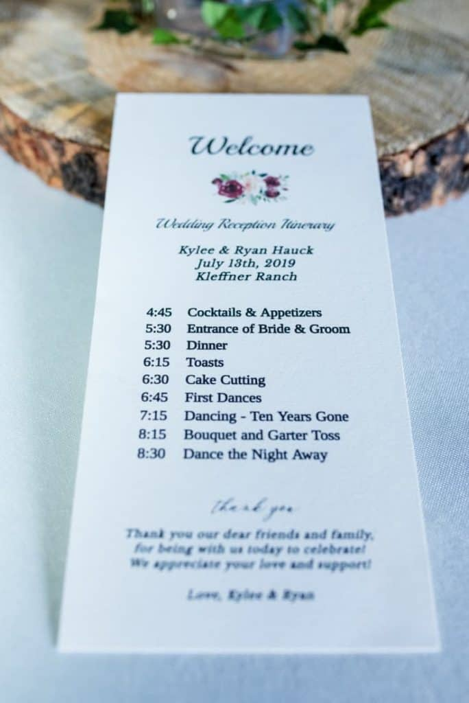 Rustic Ranch Wedding Day Itinerary