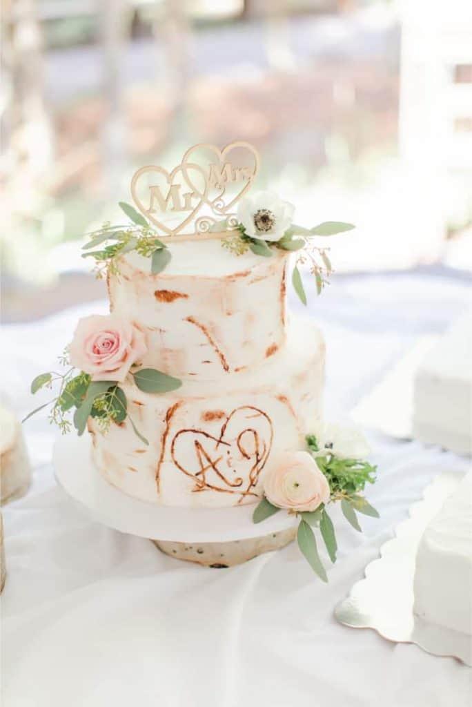 Amy and Josh Rustic Wedding Cake Initials