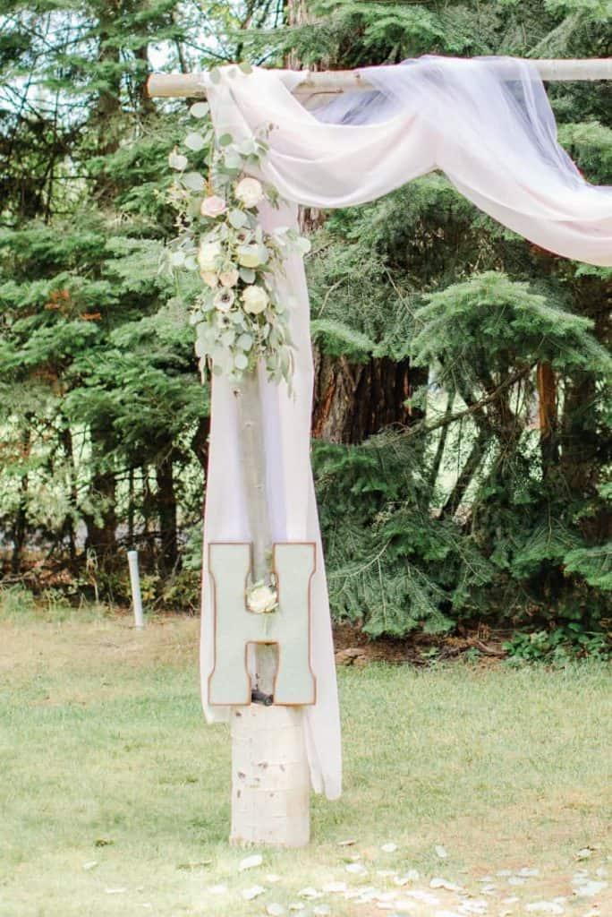 Wedding Arch H Monogram Detail