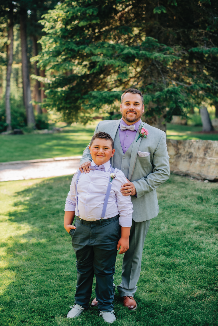 Groom-and-Son-Daddy-Here-Comes-Our-Girl-Mountainside-Wedding