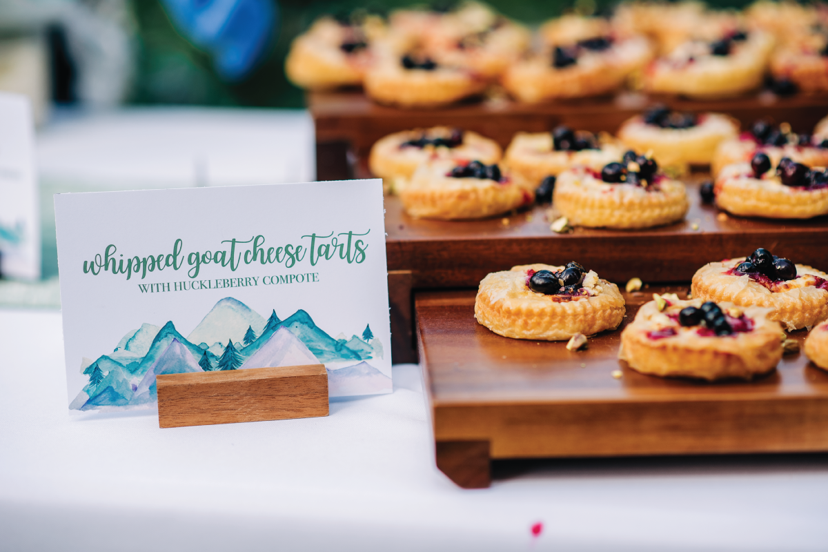 Reception-Food-Goat-Cheese-Tarts-with-Huckleberry-Mountainsdie-Wedding