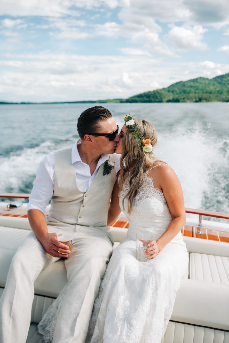 Brittany-and-Zach-Whitefish-Lake-Bride-Groom-Boat