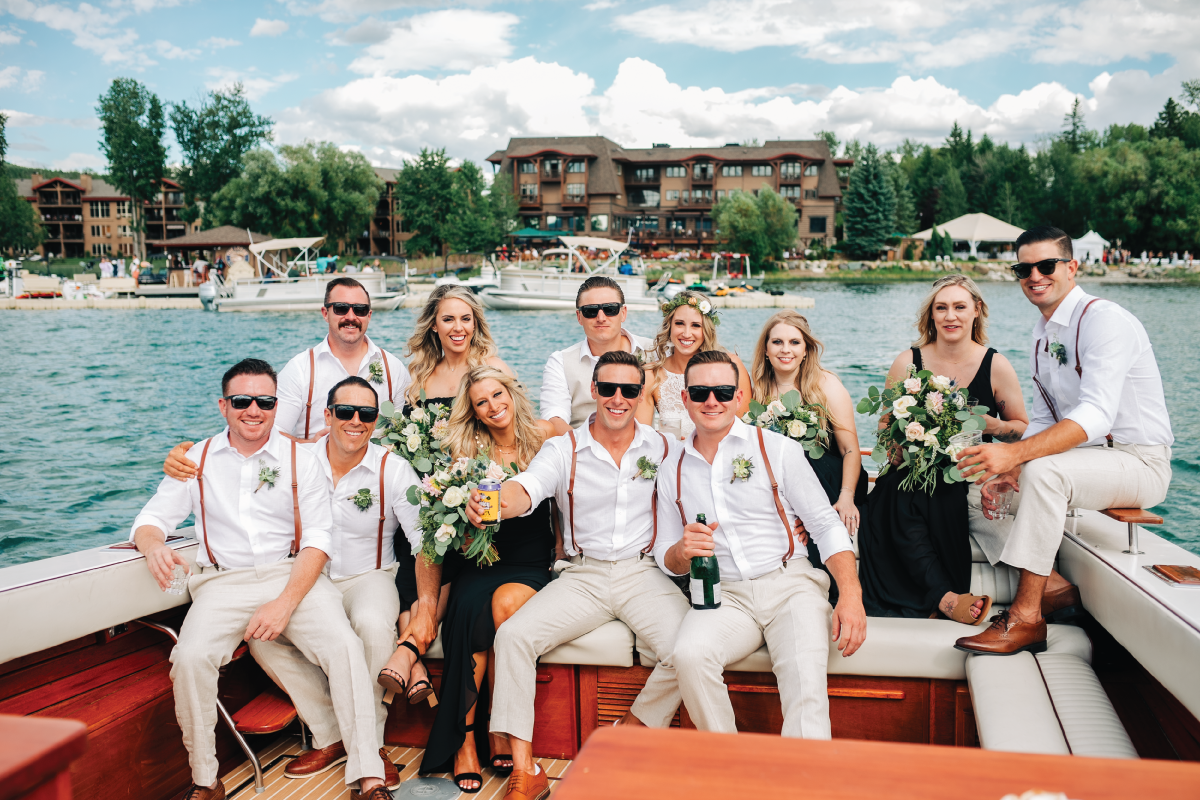 Brittany-and-Zach-Whitefish-Lake-Wedding-Boat-Ride-Wedding-Party