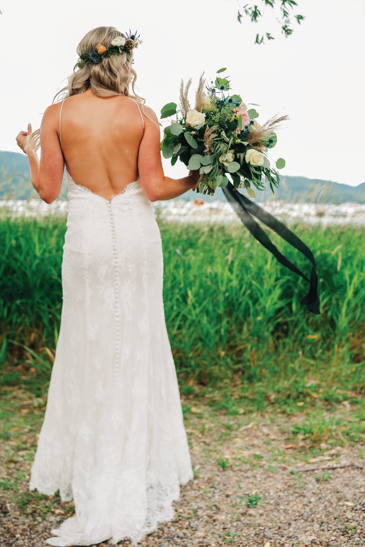 Brittany-and-Zach-Whitefish-Lake-Wedding-Bride-Back