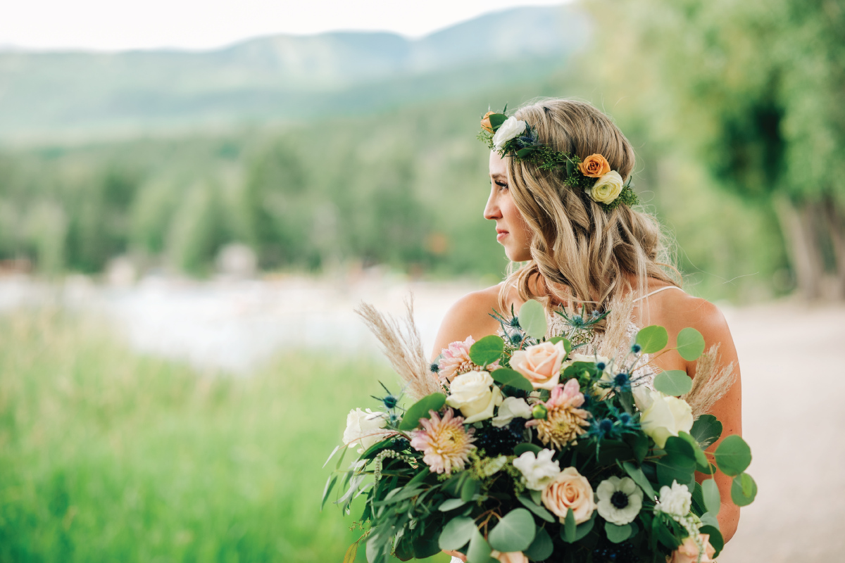 Brittany-and-Zach-Whitefish-Lake-Wedding-Bride-Side-Angle