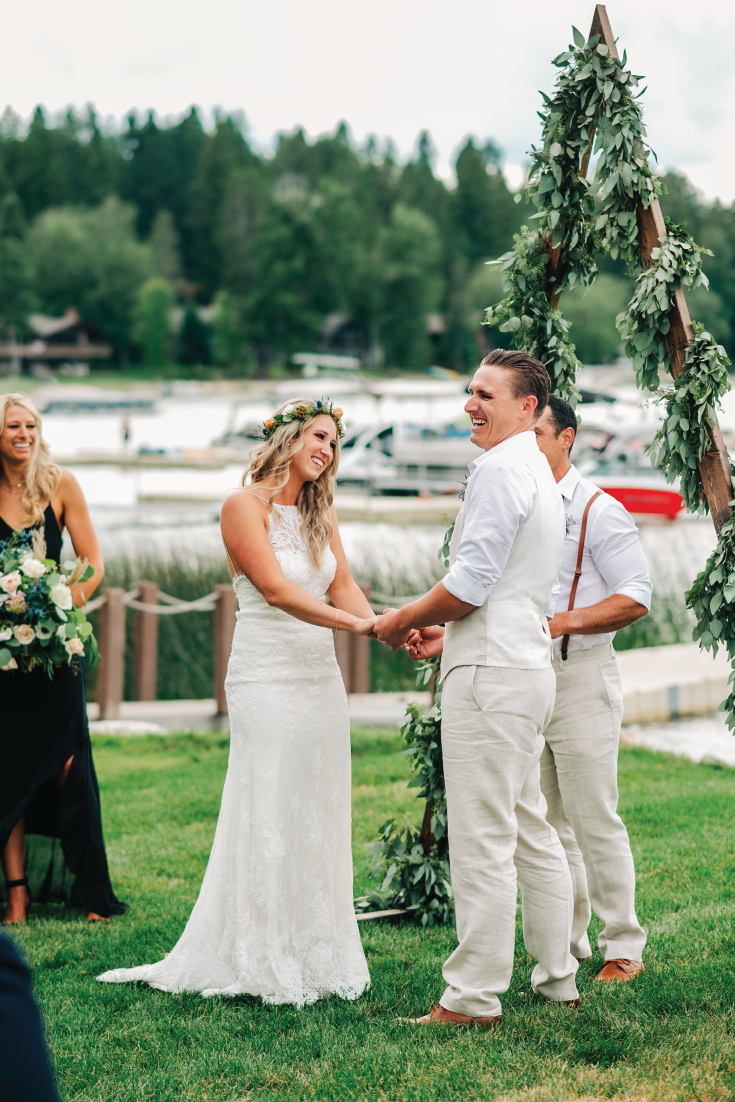 Whitefish-Lake-Wedding-Bride-and-Groom-Ceremony-Laugh