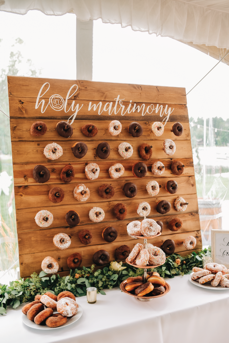 Whitefish-Lake-Wedding-Welcome-Tent-Reception-Donut-Wall